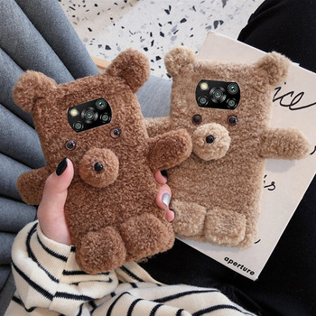 Fluffy Cute Bear Warm Phone Case for Xiaomi Mi POCO X3 NFC X2 M2 F2 Pro 3D Lovely Cover Redmi K20 8A 9A 9C Note 8 8T 9 9s
