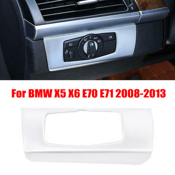 New Arrival High Quality Chrome For BMW X5 X6 E70 E71 2008-2013 Headlight Switch Button Trim Cover ABS image