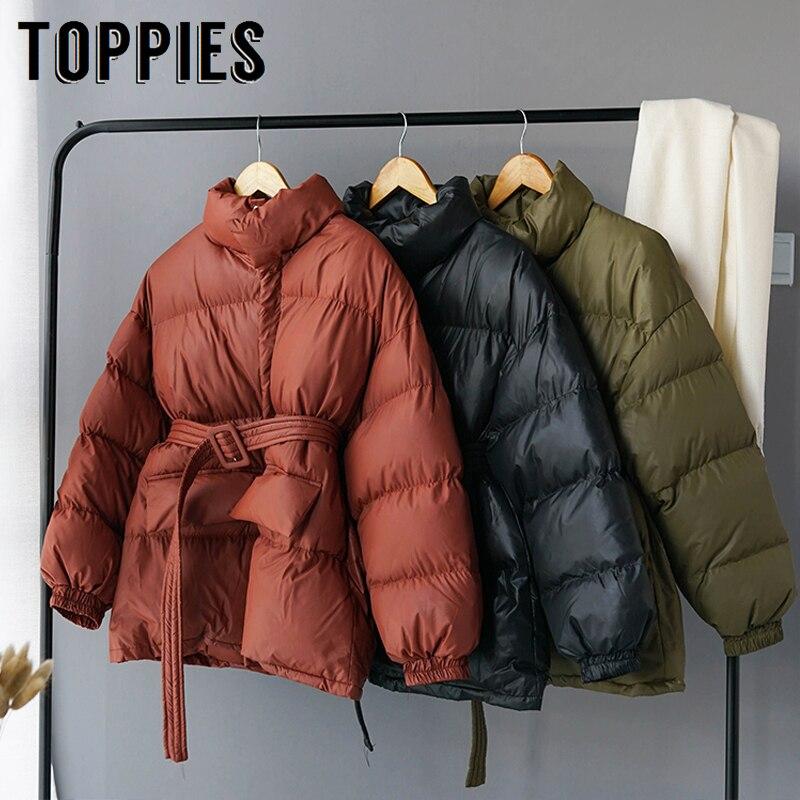Chaqueta de Invierno para mujer, Parkas abrigadas y gruesas, abrigo con burbujas y cuello, ropa coreana acolchada de algodón con botones