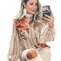 Блузка для женщин в стиле дикого в винтажном стиле с цветочным принтом крем Длинные рукава с круглым вырезом chic блузка рубашка 2020 новые шифо...