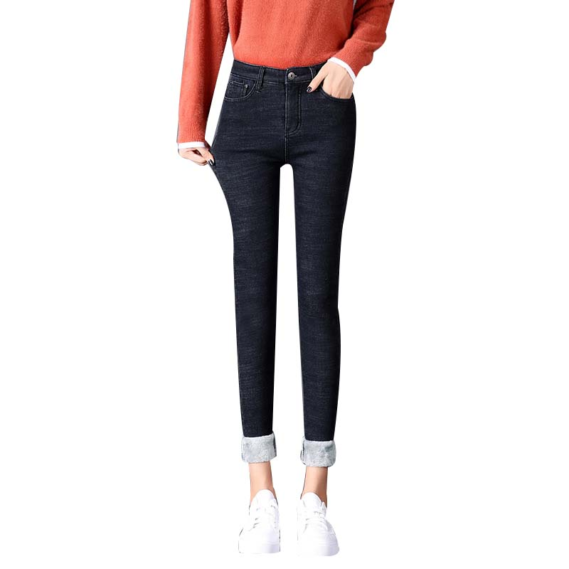 NORMOV 2019 New Winter Velvet Thickening Jeans Women Warm Thin Skinny Stretch High Waist Pencil Pants Plus Size 4 Color Jeans