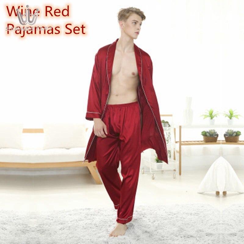 SAMWESTART Men's Stain Silk Pajamas Robe Sets Winter Long Sleeve Top Pants Nightwear Loungewear Home Leisure Men's Pajamas