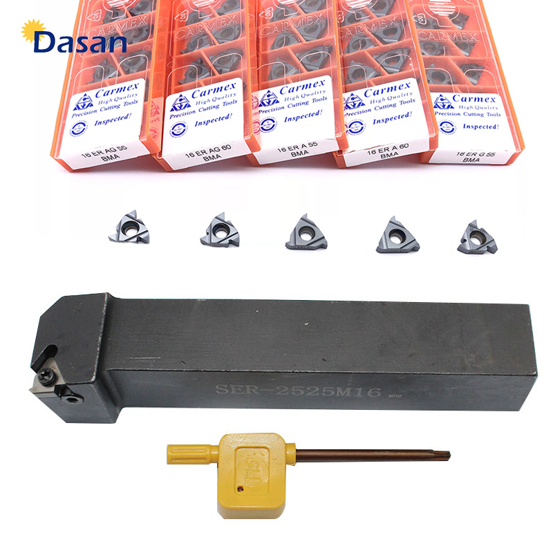 16ER AG60 AG55 A60 ISO And SER1212H16 SER1616H16 SER2020K16 SER2525M16 Carbide Inserts  External Thread Turning Tool Holder Set