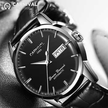 Qualität KARNEVAL Uhren Männer Top Luxus Marke Automatische Mechanische Uhr Sapphire Wasserdichte Uhren Leder Männlichen Armband