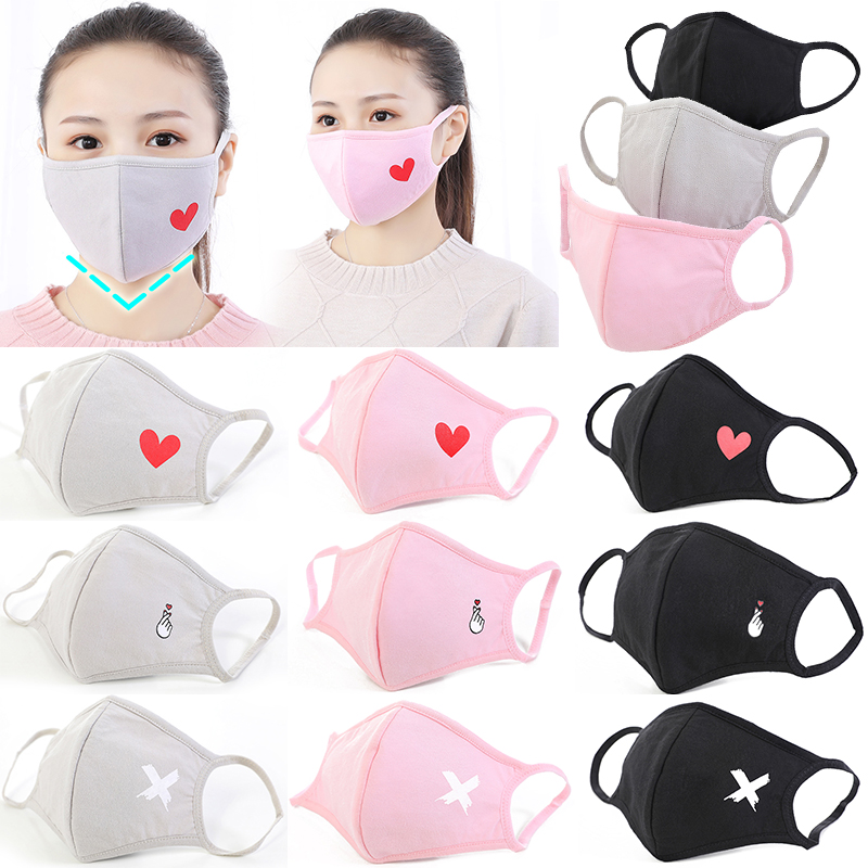 1pc Multi-Style Anime Cartoon Cotton Mouth Mask Anti Dust Mouth-muffle Washable Black Mask On Face For Man Women Respirator Pink
