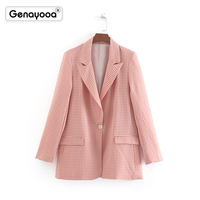 Genayooa Office High Quality Pink Plaid Blazers Women Jacket Single Button Blazer Feminino Slim Fit Autumn 2019 Elegant Outfit