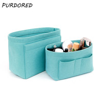 PURDORED 1 шт. женский войлочный органайзер для макияжа сумка-Органайзер одноцветная Туалетная сумка для хранения для путешествий сумка-чехол д...