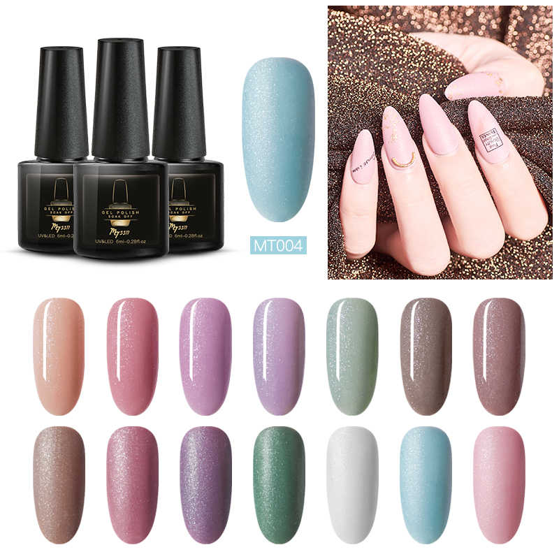 Mtssii Glitter Gel Nail Polish Rendam Off Manikur Vernis Semi Permanant Matte UV Top Base Coat Nail Art Kuku Gel pernis Lacquer