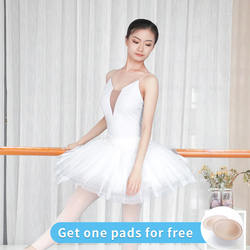 Women Ballet Leotards White Camisole Gymnastics Leotards Adults Sexy Neckline Bodysuit Swimwear