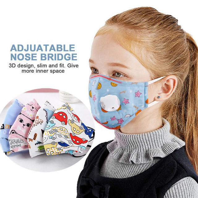 Washable Child Reusable Anti-fog Protective Face Cover Shield Mask Respirator with Replaceable Carbon Filter For Kids