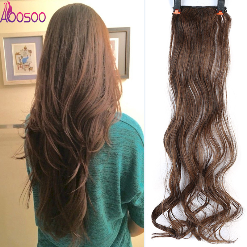 2 Clip In Hair Extensions Synthetic 1 Piece 3Colors Long Straight Clip On High Temperature Fiber Hair Extensions 20
