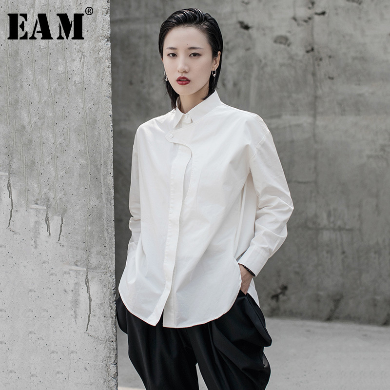 [EAM] Women White Split Joint Temperament Blouse New Lapel Long Sleeve Loose Fit Shirt Fashion Tide Spring Autumn 2020 1H290