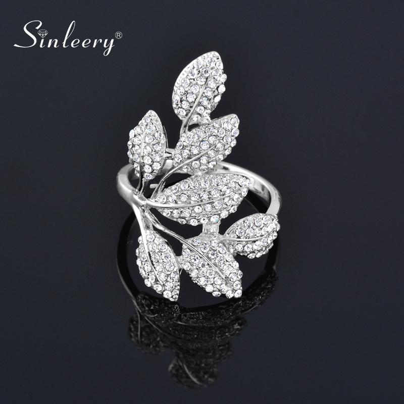 SINLEERY Luxury Crystal Leaf Finger Rings For Women Silver Color Statement Ring Party Jewelry Gifts JZ058 SSH