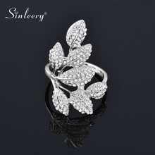 SINLEERY Luxury Crystal Leaf Finger Rings For Women Silver Color Statement Ring Party
