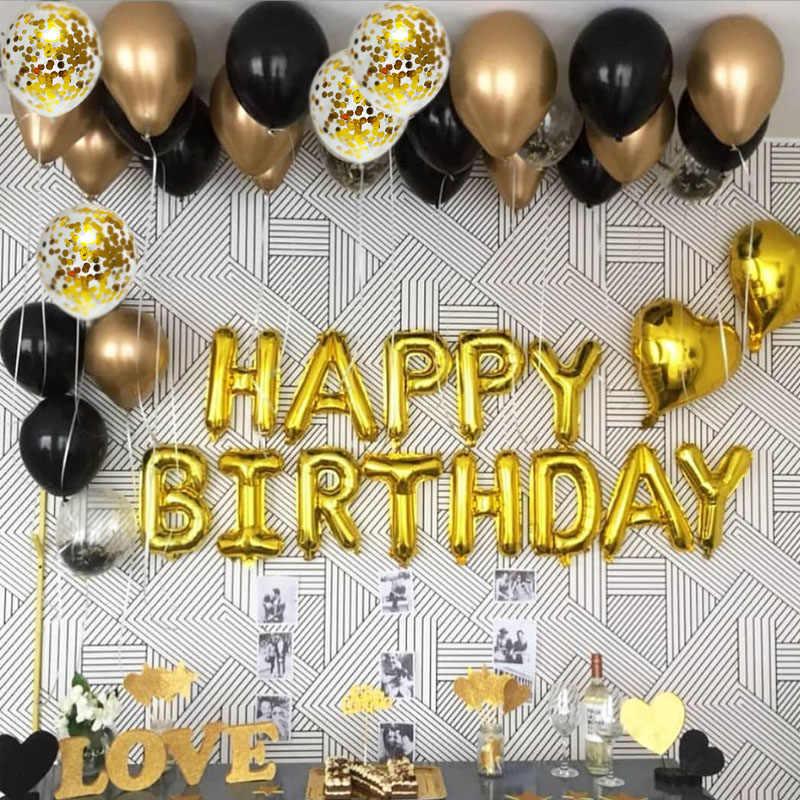 15 sztuk złota i czarnego metalu lateksowe balony dekoracje na imprezę urodzinową dla dorosłych dzieci balony helem Globos Wedding Decor Toy S6XN