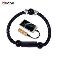 Cable Micro USB tipo C para iPhone, Xiaomi, Huawei, Android, pulsera de cuero para teléfono, Cable USB de carga, Cable de datos