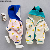 Fashion Baby Romper Plus Velvet Jumpsuit Newborn Baby Clothes Hooded Baby Girl Clothes Cute Romper Baby Warm Outdits For 0 18M
