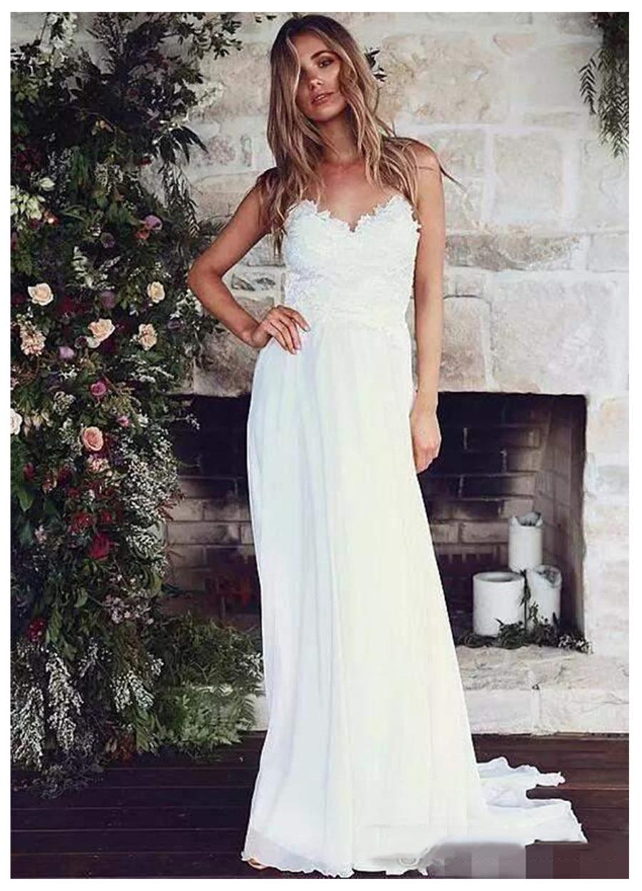 Spaghetti Strips A-Line Beach Vestidos De Novia Wedding Dresses Lace Top 2020 Backless Bridal Gowns Simple Robe De Mariee