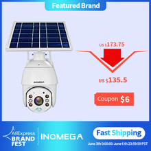 INQMEGA 4G WIFI Solar IP PTZ Cameras Starlight full color IR vision P2P 4G sim card IR Vision dome camera Cloud storage camera
