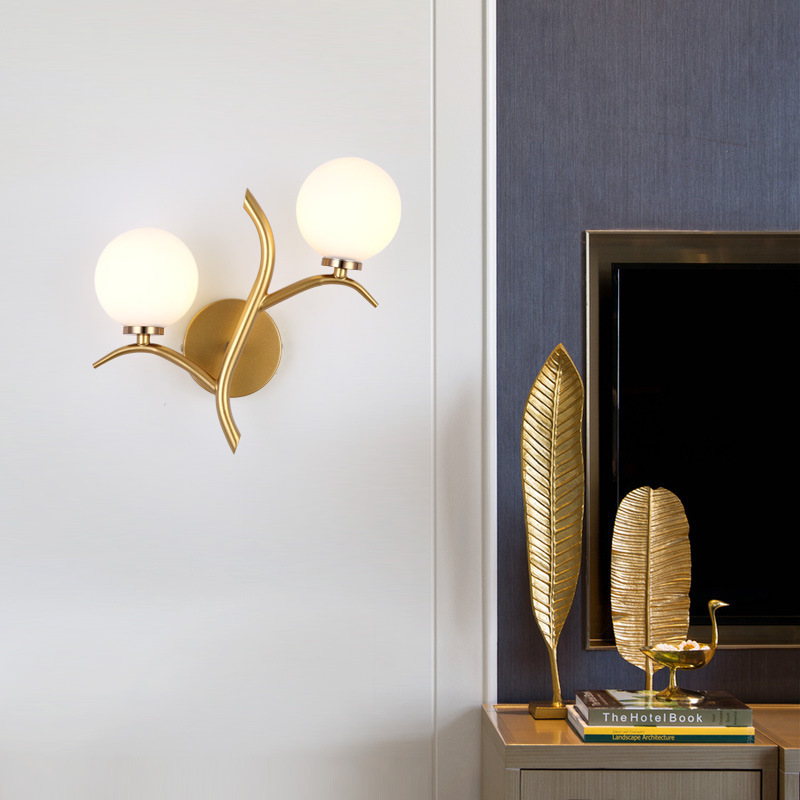 Nordic double headed wall lamp golden interior decoration bedroom bedside wall lamp post modern recreational wall lamp|LED Indoor Wall Lamps| |  - title=