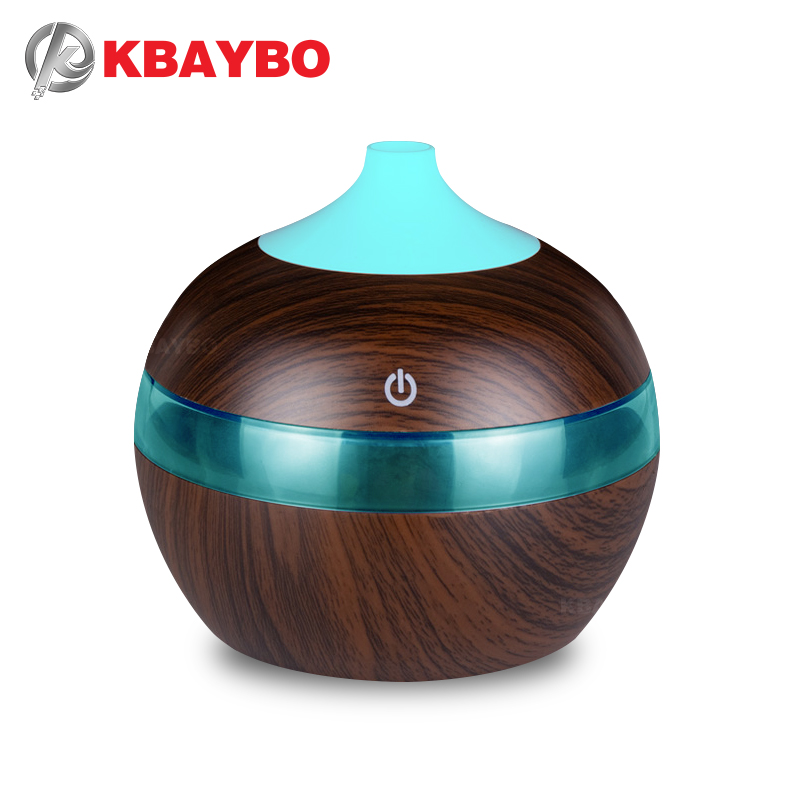 KBAYBO 300ml Mini USB Air Humidifier Essential Oil Diffusers Wood Electric Humidifier With LED Night Light Mist Maker For Home