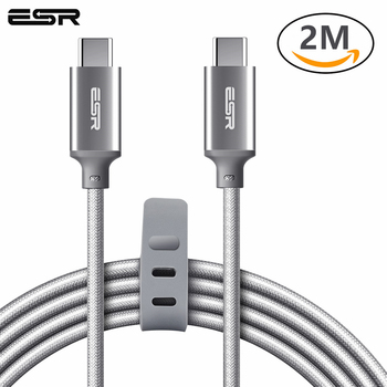 ESR Type C To Type C Cable USB-C To USB-C USB 2.0 Cable Data Sync Fast Charging 2M for MacBook for Samsung S8 Oneplus 5T