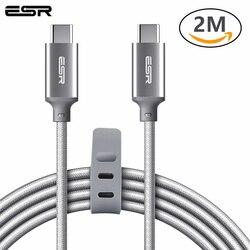 ESR typ C do typu C kabel USB C do USB C USB 2.0 kabel do transmisji danych synchronizacja szybkie ładowanie 2M dla MacBook dla Samsung S8 Oneplus 5T w Kable do telefonów komórkowych od Telefony komórkowe i telekomunikacja na