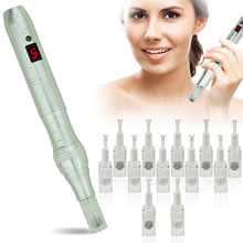 TBPHP P10 Derma Pen Microneedling Pen with LCD Display|Wireless silent and durable|With 12 pcs Microneedle Cartridges(Silver)
