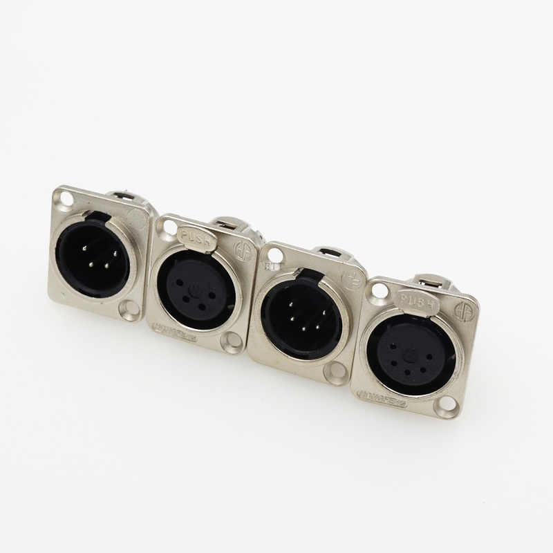 3Pins 4Pins 5Pins XLR Connector Male Female Jack Socket Panel Mounted Type Chassis Square Shape Metal Housing