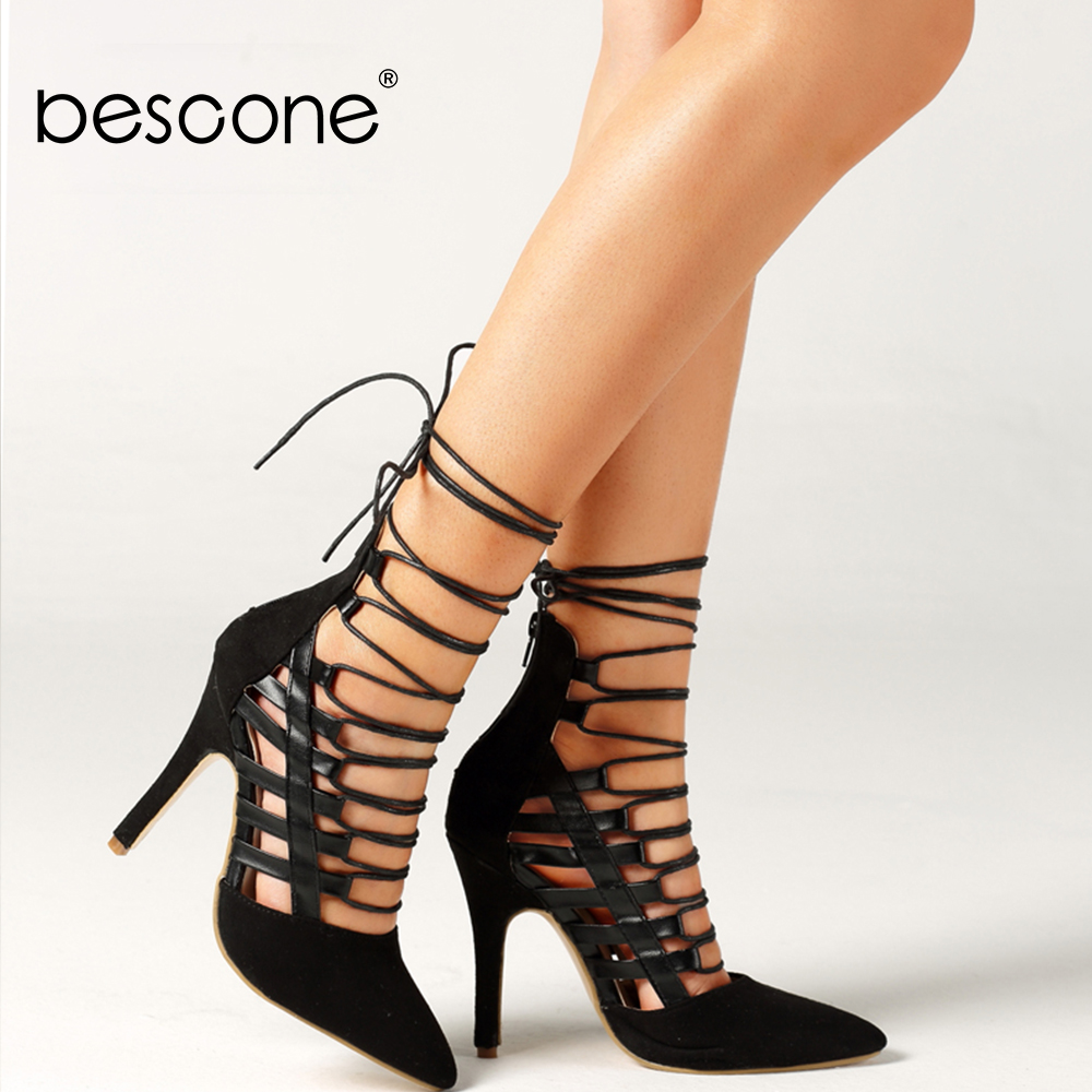 BESCONE Fashion Women's Pumps Mature Ankle Strap Pointed Toe Thin Heels Super High Handmade Shoes High Quality Flock Pumps BM389