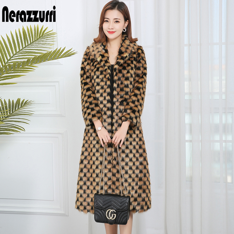 Nerazzurri 2019 Winter Faux Fur Coat Women Plus Size Women Clothes 2019 Long Gradient Plaid Elegant Ladies Fake Mink Fur Coats