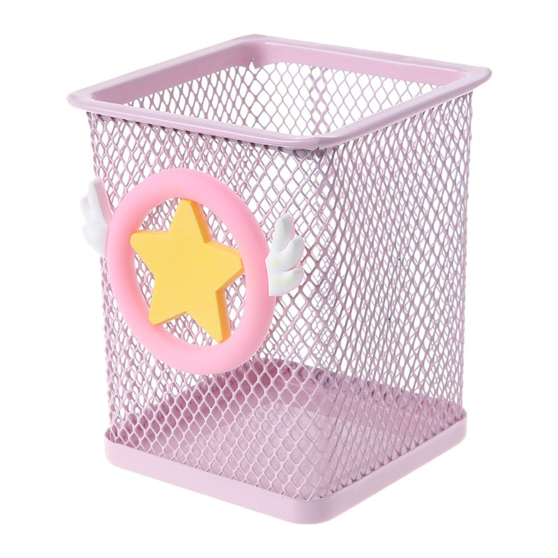 Pen Holder Pink Metal Grid Container Large Capacity Multi-function Storage Box Girls Holiday Gifts