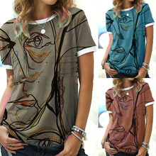 Summer Women's Line Printing Round Neck Short-sleeved T-shirt Personality Art Printing Tops Fashion Casual Women's Clothing