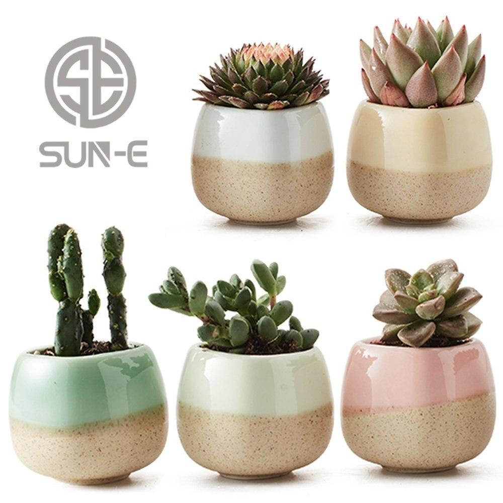 5 in Set 2.2 Inch Container Planter Ceramic Flowing Glaze Five Color Base Serial Set Succulent Plant Pot Cactus Flower Pot Gift