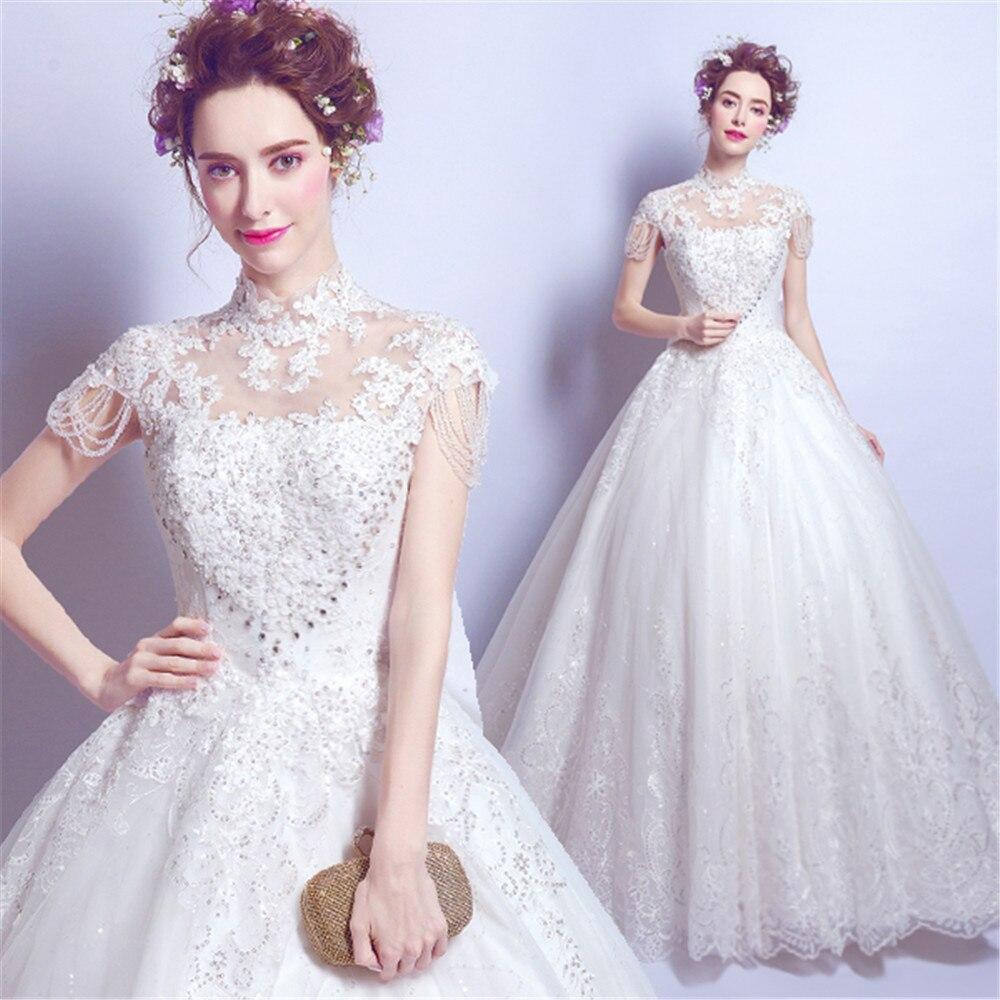Luxury Perlen Kleid Halter Sexy Women Crystals   Prom     Dresses   Lace Beads Sleeve Fairy Evening Princess Gown   Dress   Robe De Soiree