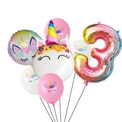 Balão de arco-íris de unicórnio, 7, pçs/lote, degradê, 32 polegadas, número 1, 2, 3, 4, 5, crianças, decoração de chá de bebê balões de hélio globos