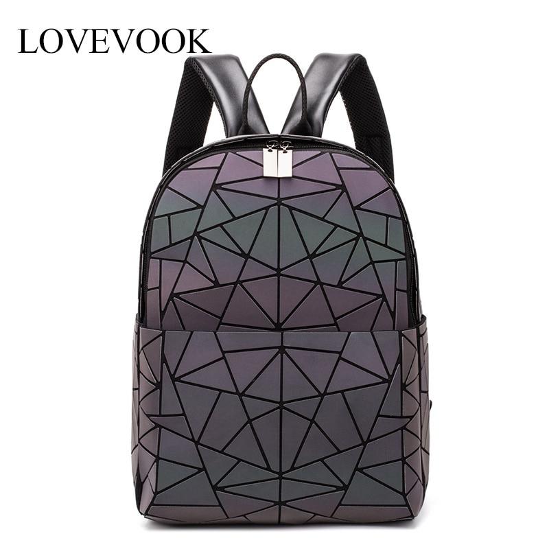 Women Backpack LOVEVOOK School-Bag Teenagers Large-Capacity Girls Luminous Geometric