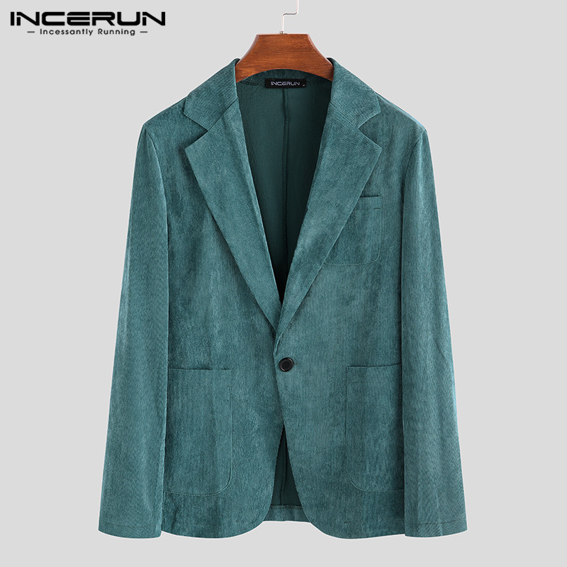 INCERUN Men Corduroy Blazers Fashion Long Sleeve Solid Streetwear Handsome Outwear Casual Blazer Business Men Suits Jackets 2020