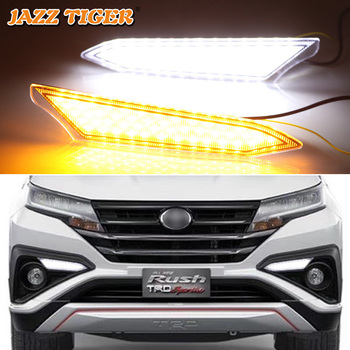 JAZZ TIGER 2PCS Flowing Yellow Turn Signal Function 12V Car DRL Lamp LED Daytime Running Light For Toyota Rush 2018 2019