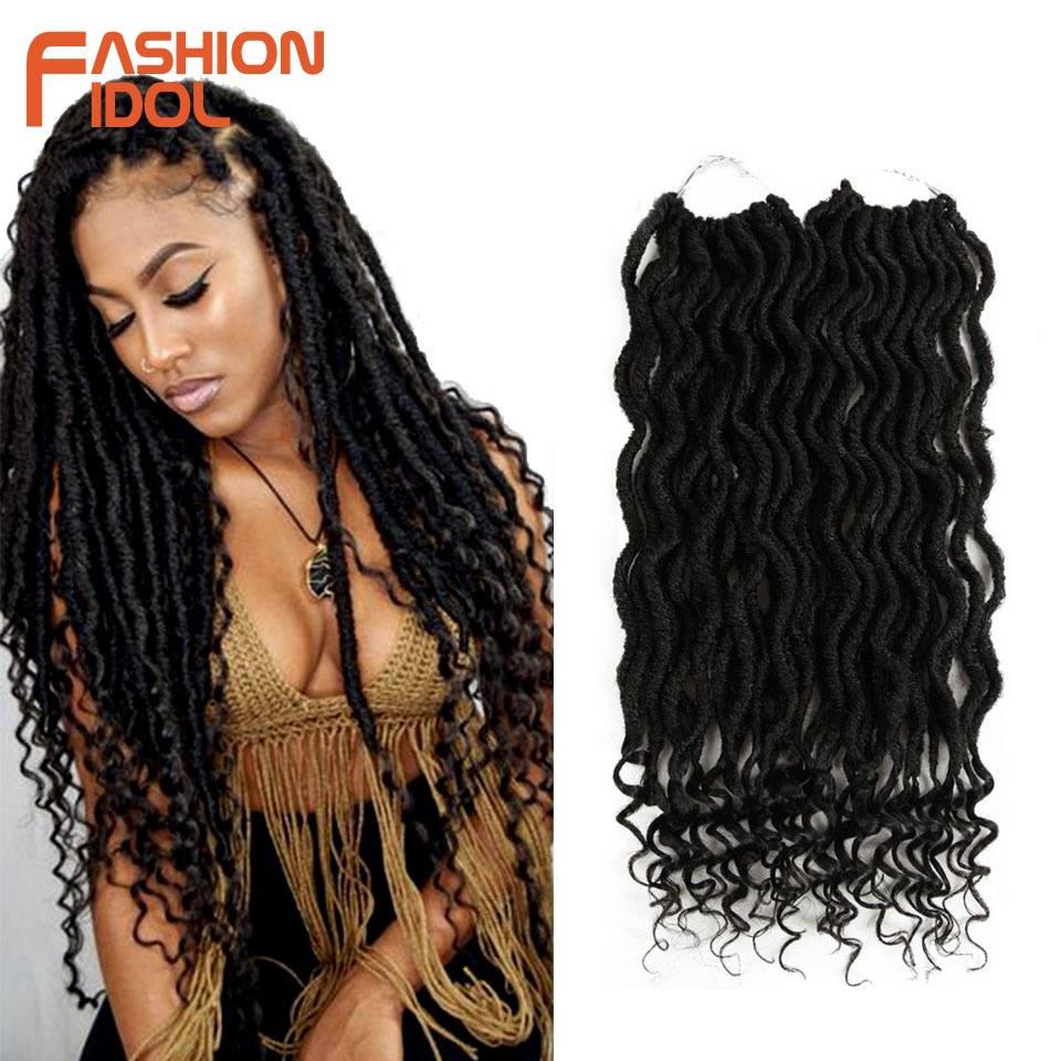 FASHION IDOL Faux Locs Crotchet Hair Extensions 20 Inch Crochet Braids Soft Natural Synthetic Hair Ombre Blue Brown Hair Braids