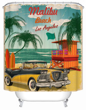 Malibu praia férias cortina de chuveiro reto poster decoração cortina do banheiro tecido cortinas da banheira com ganchos cortinas à prova dwaterproof água