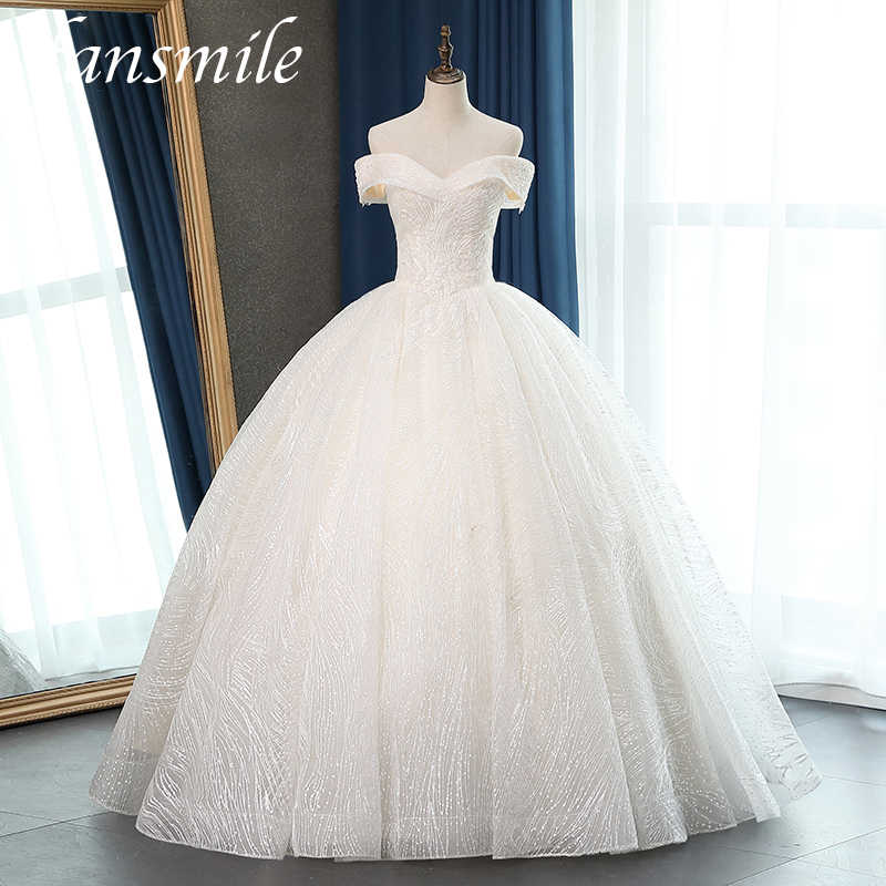 Fansmile New Quality Vestido De Noiva Lace Wedding Dresses 2020 Plus Size Customized Wedding Gowns Bridal Dress FSM-057F