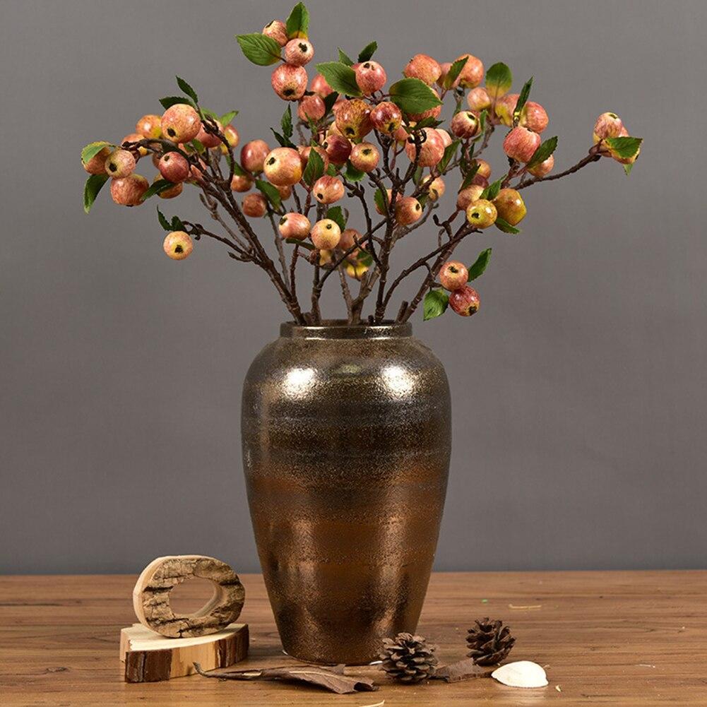 60cm 11 Heads Kunstmatige Mini Appels Boom Bloem Tak Real Touch Nep Bloemen Gesimuleerde Plant Huis Tuin Bruiloft Decoratie