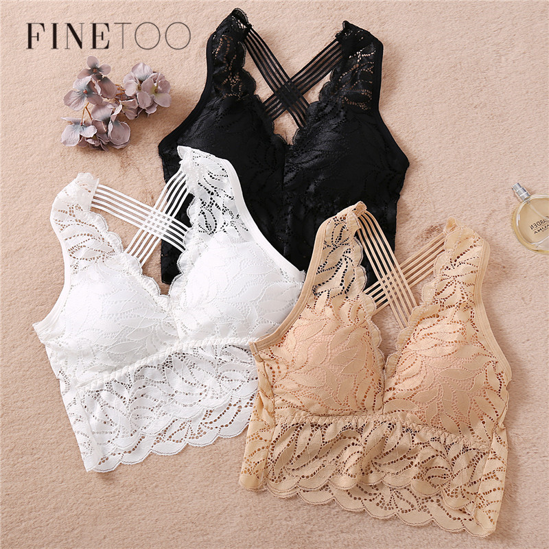 Women Sexy Lingerie Lace Bra Hollow Bralette Backless Top Female Padded Floral Brassiere Female Intimates Soft Underwear S-XL
