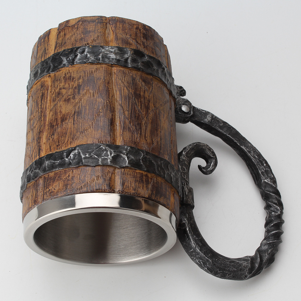 Stainless Steel Resin Beer Mug in Wooden Barrel 3
