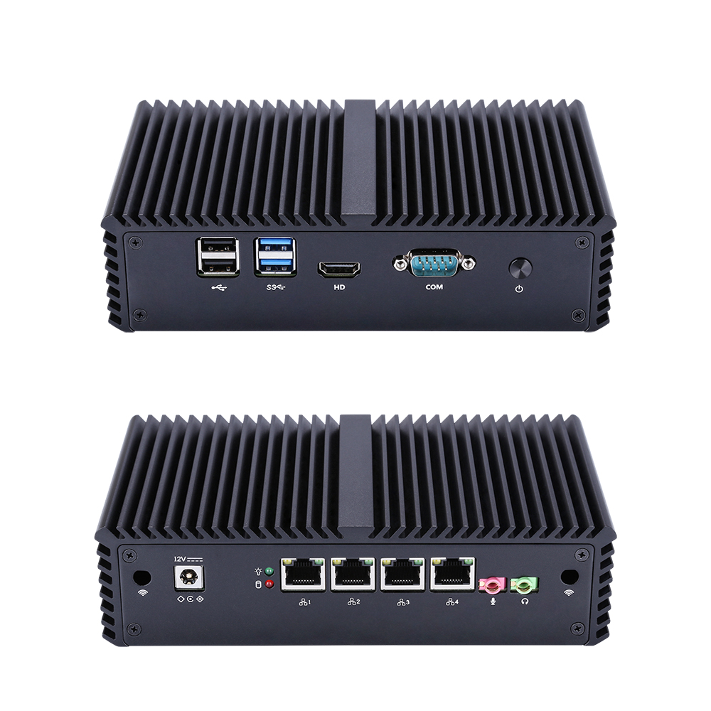 QOTOM Mini PC Core I3 I5 I7 Processor 4 Gigabit NIC Router, Support AES-NI Fanless Firewall Mini Pc Q300G4