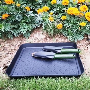 Gospodarstwa domowego wielofunkcyjna plastikowa taca mata kroplowa na każdą pogodę wewnątrz lub na zewnątrz deszcz brudne buty nasiona narzędzia ogrodnicze tanie i dobre opinie Nie powlekany Z tworzywa sztucznego Pot Trays 35 x 27 5 x 3cm 13 7in x 10 8in x 1 18in Black 3Pcs Set