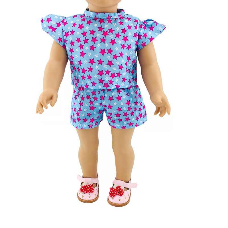 18 אינץ אמריקה GIRL של 43cm בובת בגדי כוכב קטן לטוס שרוול חולצות מכנסיים קצרים סט מאחל סחר חוץ חם מכירות