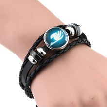 Fairy Tail Bracelet Guild Logo Glass Cabochon Black Leather Bangle Bracelets Anime Jewelry Gift for Anime Cosplay Lover
