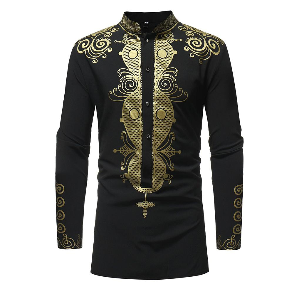 Yiwa Men Shirts Long Sleeve Shirts National Style Gilding Pattern Tops Breathable Clothing Boy Plus Size Shirt 2019